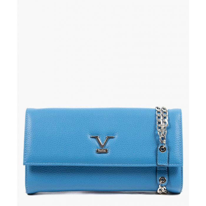 Image for Blue leather logo clutch
