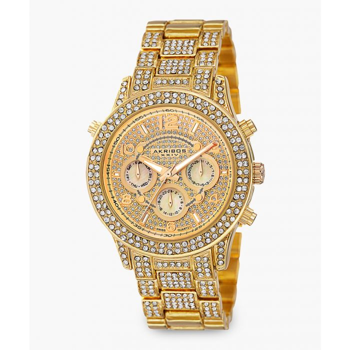 Image for Gold-tone and crystal chronograph watch