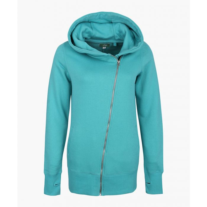 Image for Green cotton blend zip-up hoodie
