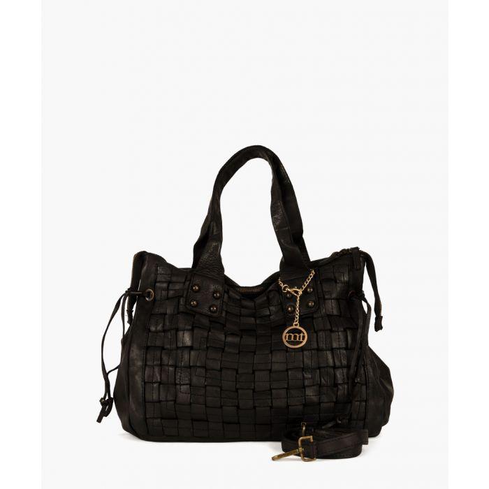 Image for Meda black leather shopper