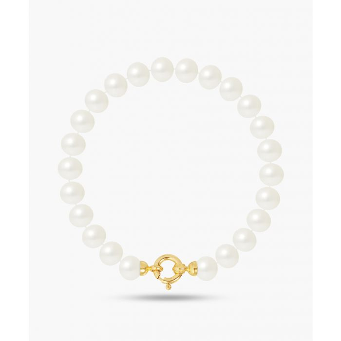 Image for Gold-plated and natural white freshwater pearl bracelet
