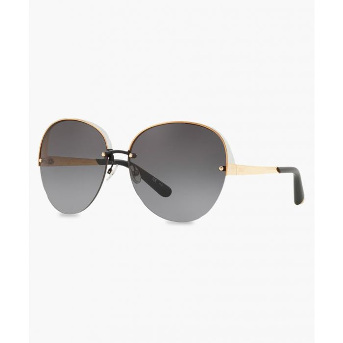Image for White and gold-tone oversized sunglasses