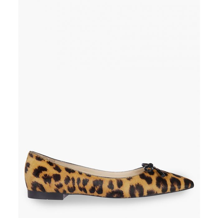 Image for Animal printed leather ballet flats