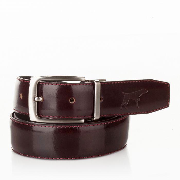 Image for Mens burgundy leather adjustable belt