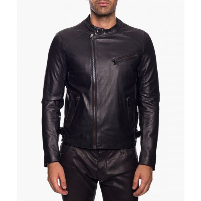 Image for Fausto black leather jacket