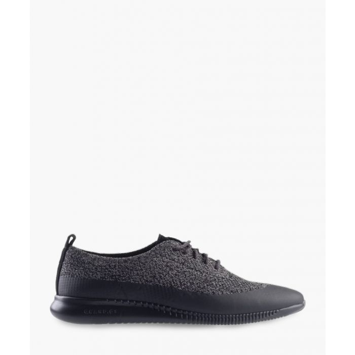 Image for Womens black knit Oxford shoes