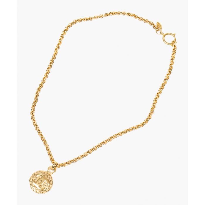 Image for Vintage gold-plated round logo necklace