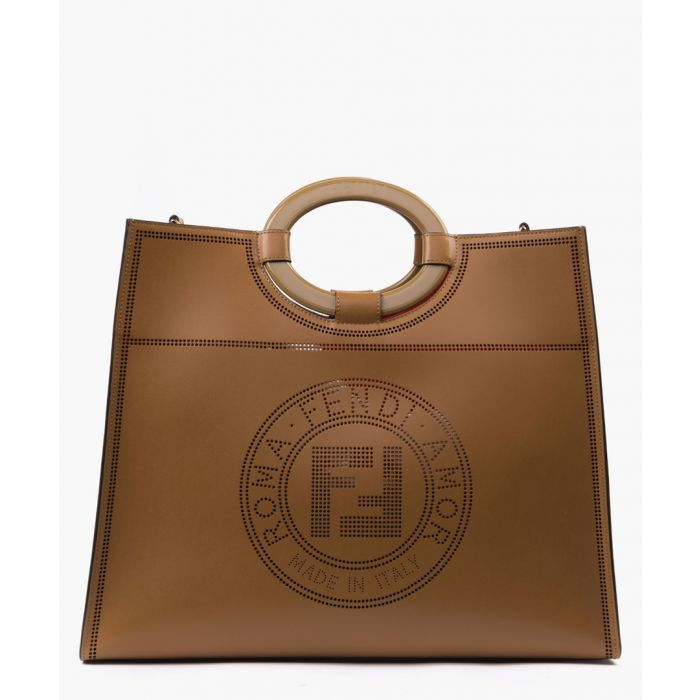 Image for Brown run away leather shopper