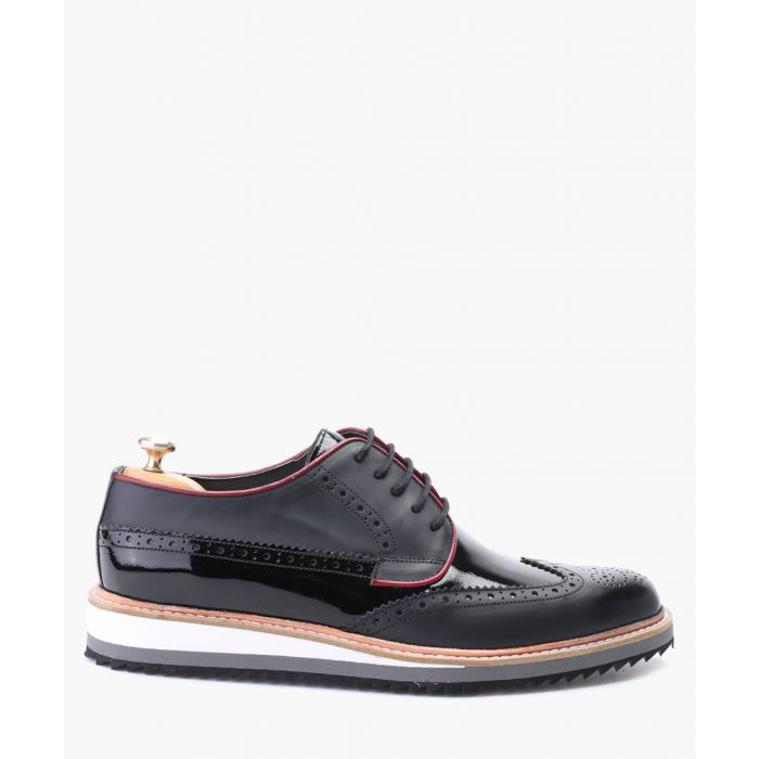 Image for Black leather derby brogue shoes