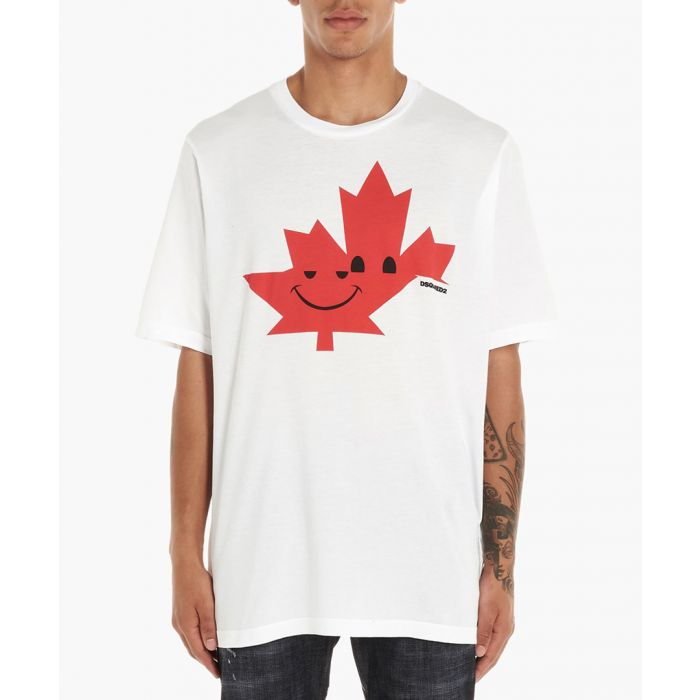 Image for White cotton leaf print T-shirt
