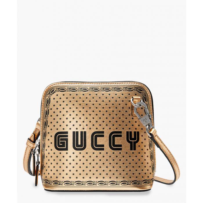 Image for Gucci Sega Script gold-tone leather mini shoulder bag