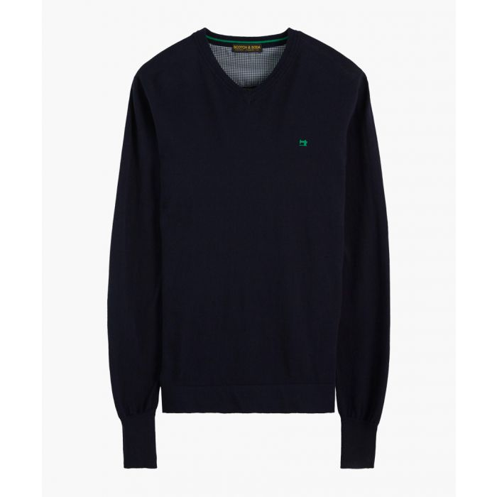 Image for Navy blue cotton-wool blend classic V-neck jumper