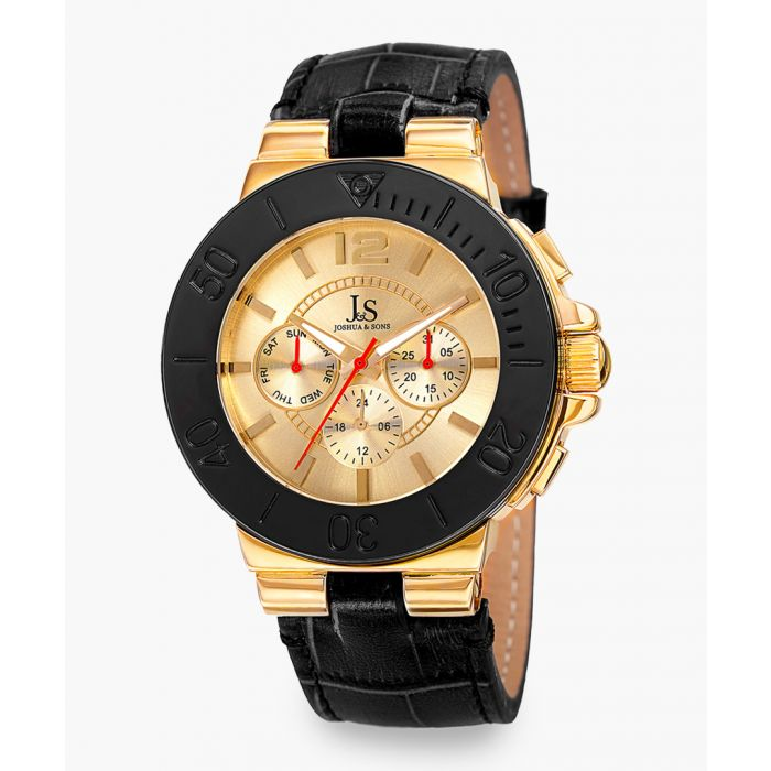 Image for Gold-tone and black leather chronograph watch