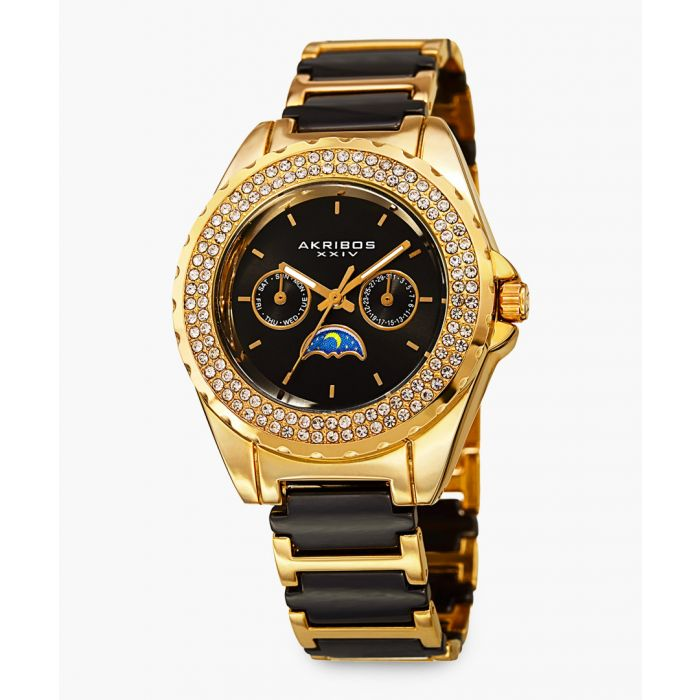 Image for Gold-tone and black ceramic embellished watch