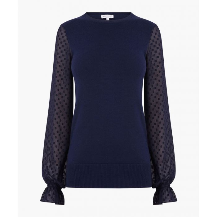Image for Navy textured woven sleeve jumper
