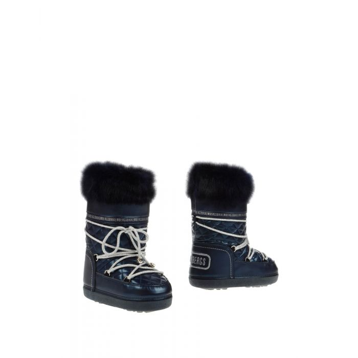 Image for Dark blue faux-fur trim shell snow boots