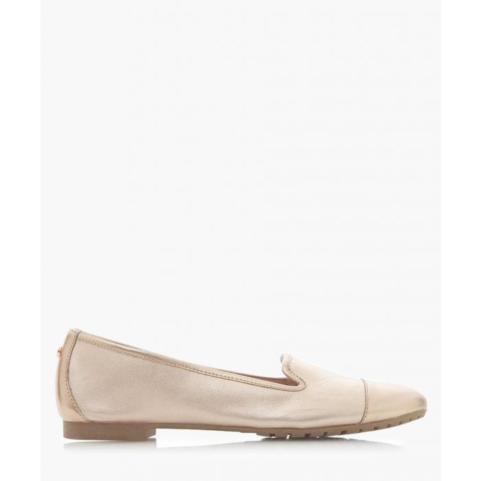 Image for Genevene rose gold-tone leather loafers