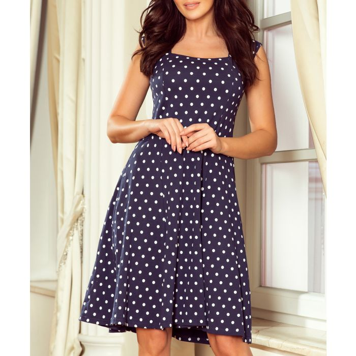 Image for navy polka sleeveless dress