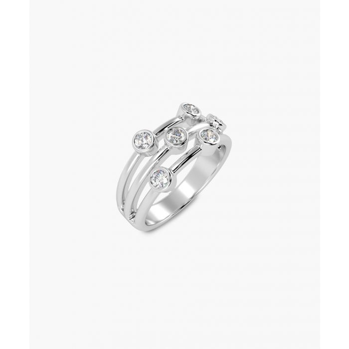 Image for 18k white gold round diamond bubble ring