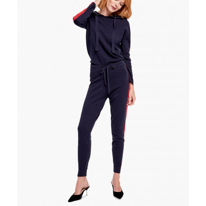 Image for Navy and red cashmere blend jumper and trousers set