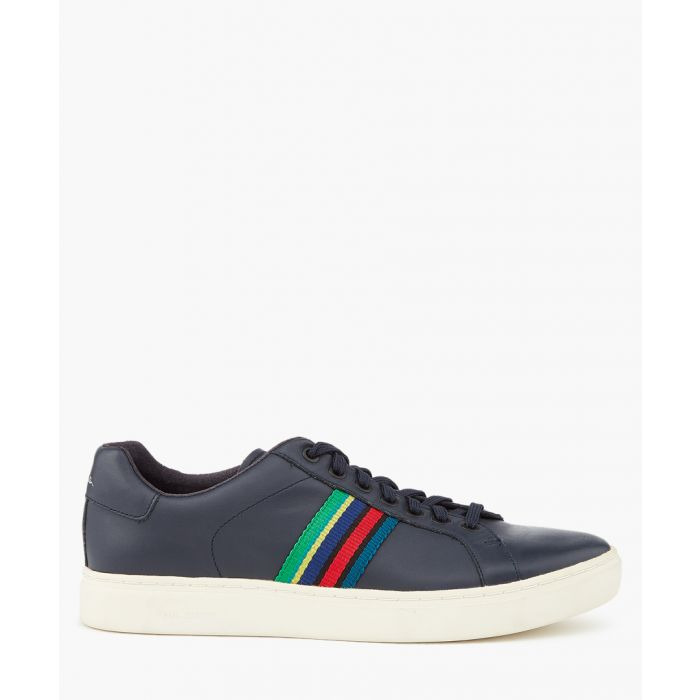 Image for Dark navy leather contrast sneakers