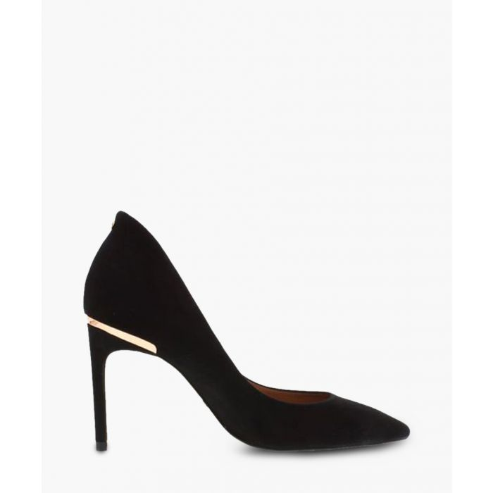Image for Black suede metallic detail heels