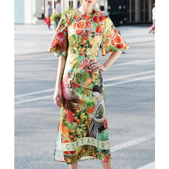 Image for Green cotton blend printed dress