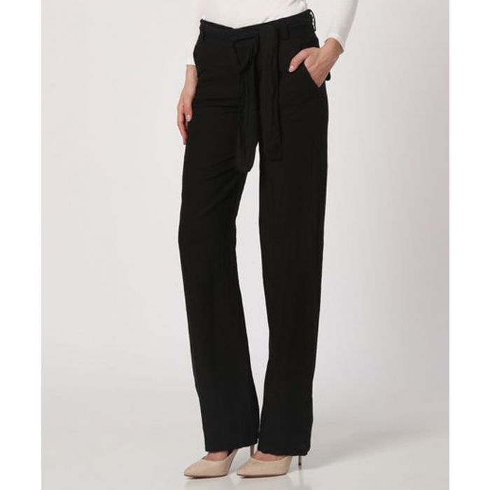 Image for black pure linen tie trousers