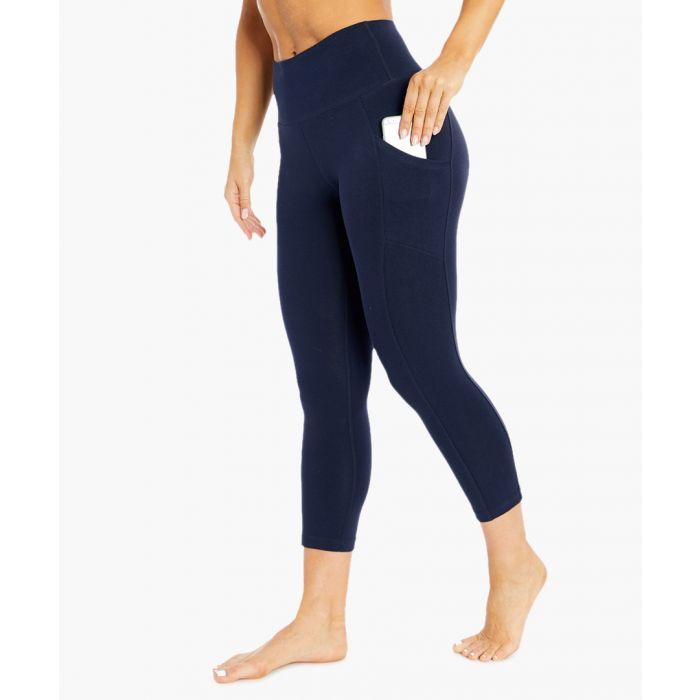 Image for bailee navy cotton blend capri leggings