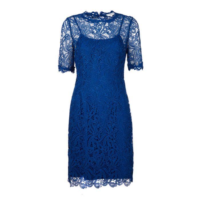 Image for Sasha blue lace overlay midi dress