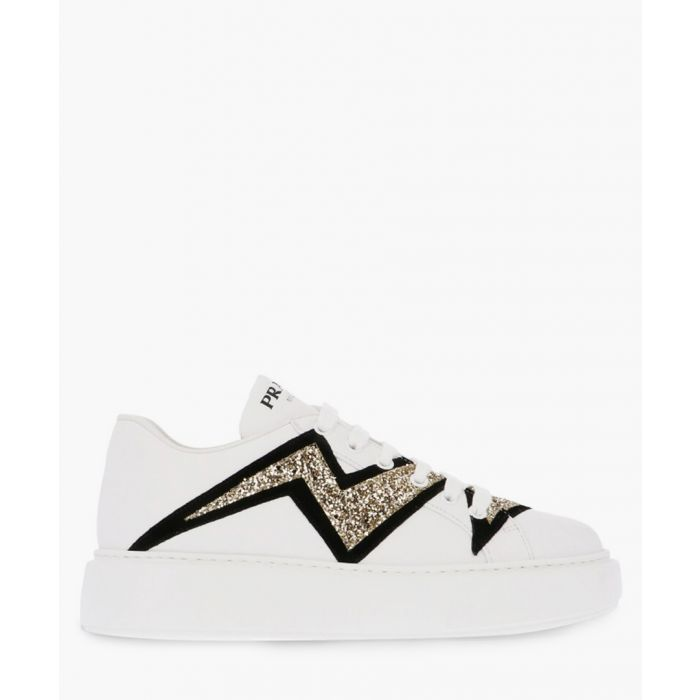 Image for White leather lightning bolt applique trainers
