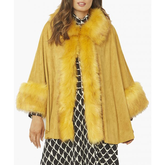 Image for Yellow faux suede and faux fur trimmed coat