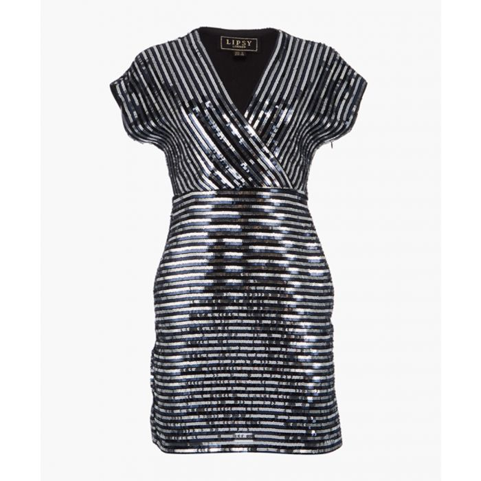 Image for Silver-tone sequin-striped dress