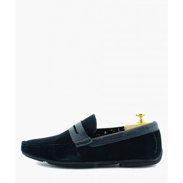 Image for Driver navy blue suede penny loafers