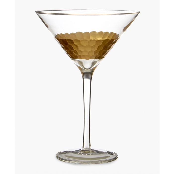Image for 2pc Astrid gold-tone honeycomb cocktail glasses