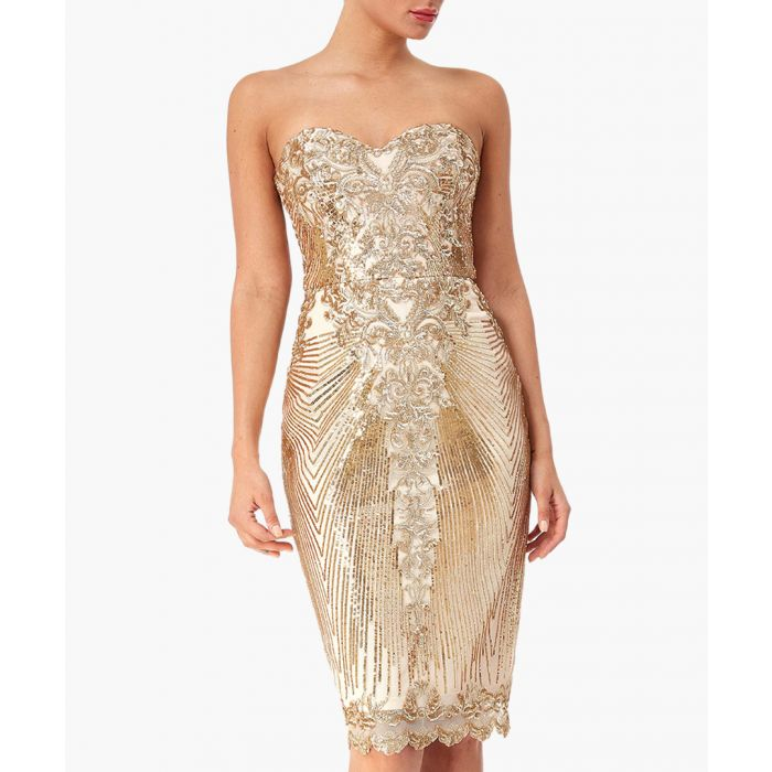 Image for Champagne sweetheart neck embroidered sequin midi dress