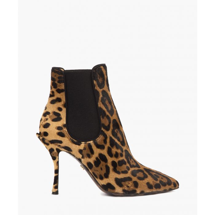 Image for Leopard print pony hair ankle boots