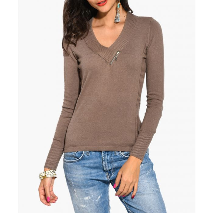 Image for Camel cashmere and silk blend jumper