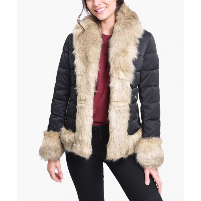 Image for Black quilted shell and faux fur scarf puffer jacket
