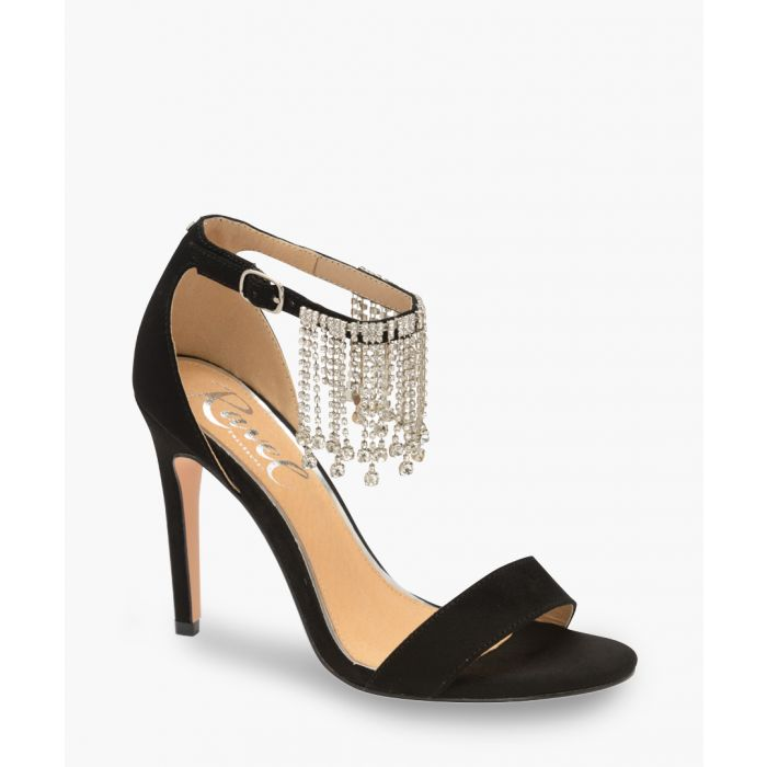 Image for Black and silver-tone fringed heels