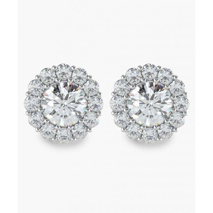 Image for 18k White gold diamond halo earrings