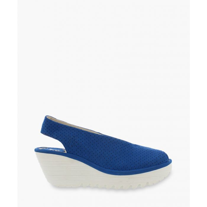 Image for blue suede slingbag wedges