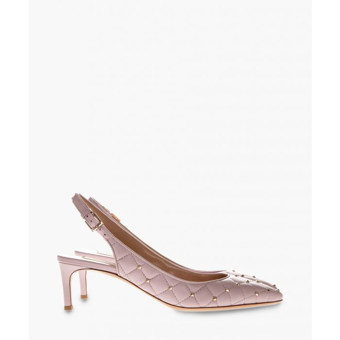 Image for Rockstud spike rose leather slingbacks