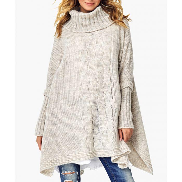 Image for Beige melange wool blend knitted sweater