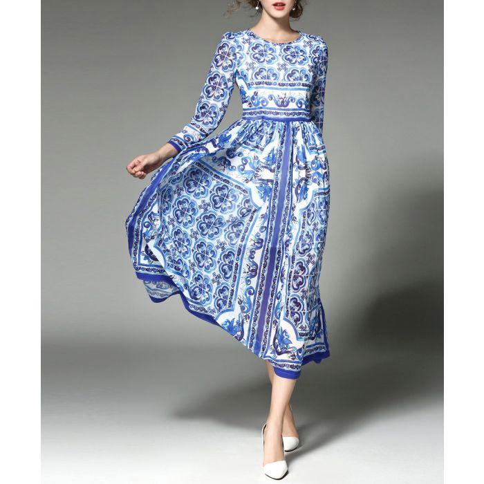 Image for Blue & white tile print midi dress
