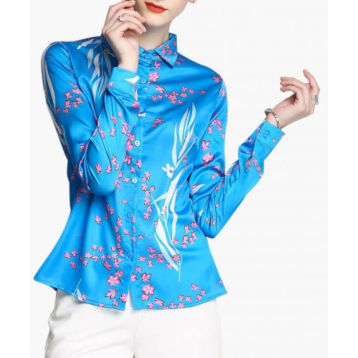 Image for Sky blue blossom print button-up shirt