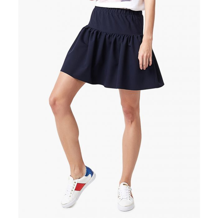 Image for Navy fit & flare mini skirt