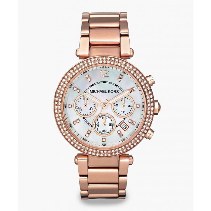 Image for Parker rose gold-plated crystal stainless steel watch