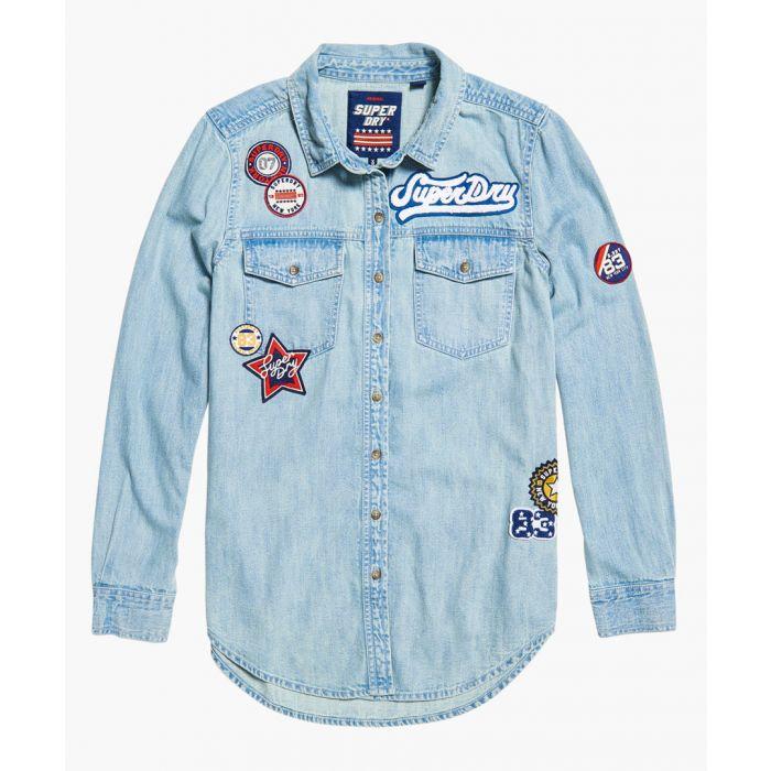 Image for Blue oversized badged denim shirt