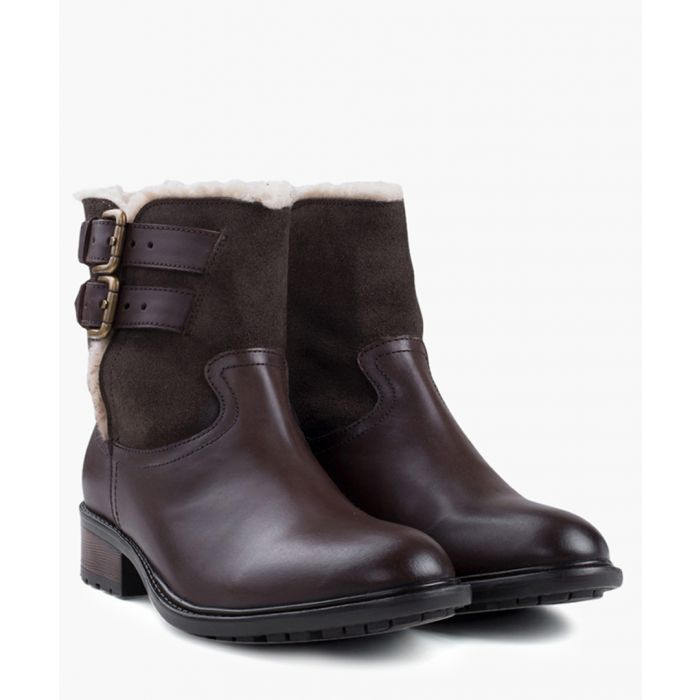 Image for Brown leather fur lined boots